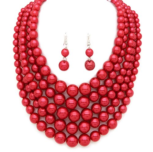 [Women's Five Multi-Strand Simulated Pearl Statement Necklace and Earrings Set (Red)] (Necklaces And Earrings)