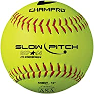 Champro Game ASA Slow Ptich .44 COR, 375 Compression, Poly Synthetic Cover, Red Stiches (Optic Yellow, 12-Inch
