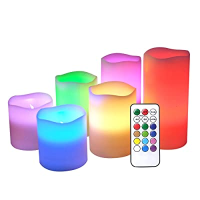 DRomance Flameless Color Changing Candles with Remote and Timer, Real Wax LED Flickering Multi Color Candles for Romantic Decoration(Set of 6, 3 x 3-6 Inches): Home Improvement