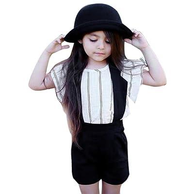 ❤️Amlaiworld 2018 Ensembles de Bébé Filles Été Enfants Sangle Filles Stripe Gilet T-Shirt Tops + Short Pantalon Salopettes Outfit Vêtements pour enfant Fille 1-6Ans