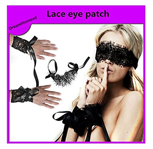 Lace Bondage Restraint Kit (Dreamhomead Women's Black Lace Eye mask and Restraint Handcuffs Sets)