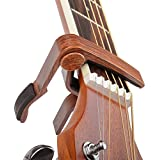 Rinastore 6-String Acoustic & Electric Guitar Capo- Single Handed Capo, Rosewood Color