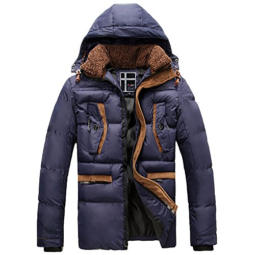 4PING Men's Winter Thickened Quilt Hooded Packable Puffer Down Coat Blue XL