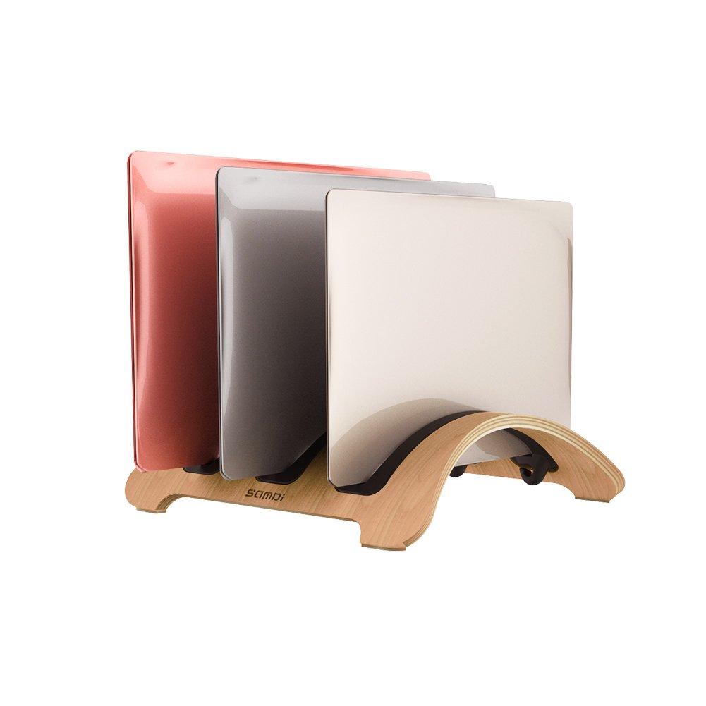 Vertical Laptop Stand, SAMDI Wood MacBook Laptop Holder with 3 Slots More Desktop Space-Saving for Apple MacBook Air Pro Notebooks (Black Walnut)