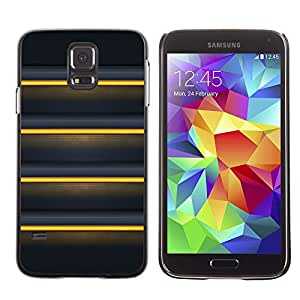 LECELL--Funda protectora / Cubierta / Piel For Samsung Galaxy S5 SM-G900 -- Black Yellow Sunshine Lines --
