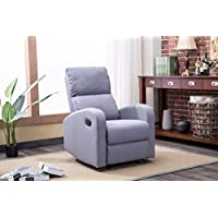 Roundhill Furniture LRH0291GY Brighton Fabric Recliner Chair, Grey