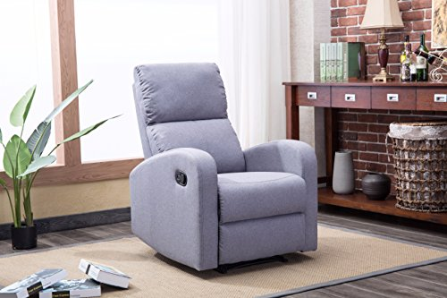 Roundhill Furniture LRH0291GY Brighton Fabric Recliner Chair, Grey Review