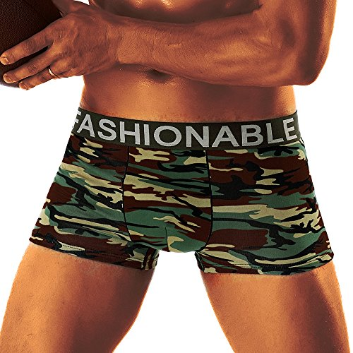 Mlide Men's Boxer Brief Fly Front with Pouch Camouflage Soft Briefs Underpants Knickers Shorts Sexy,E L