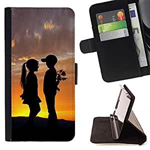 BETTY - FOR LG G2 D800 - Boy & Girl Sunset Romance Kiss - Style PU Leather Case Wallet Flip Stand Flap Closure Cover