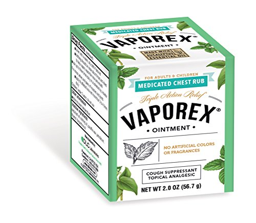 (Vaporex Medicated Chest Rub, with Camphor, Menthol and Eucalyptus, Made in USA, 2 OZ.)