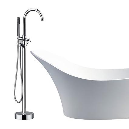 Modern Freestanding Bathtub Shower Mixer Taps Chrome Floor Mounted