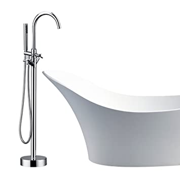 Modern Freestanding Bathtub Shower Mixer Taps Chrome Floor Mounted