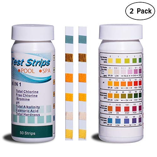 DMight Pool Test Strips, 6-in-1 Water Quality Test Strips, Spa Test Strips for Hot Tubs - Total Chlorine, Free Chlorine/Bromine, pH, Total Alkalinity, Cyanuric Acid, Total Hardness. (2 Pack)