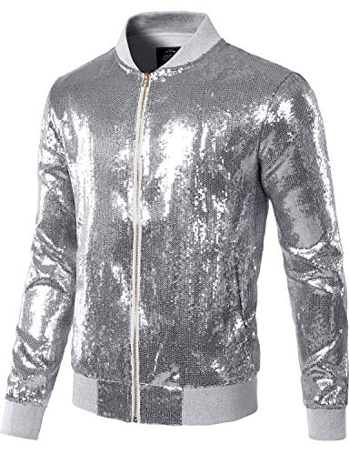 JOGAL Mens Sequins Nightclub Styles Zip up Varsity Baseball Bomber Jacket Large A346 Silver -