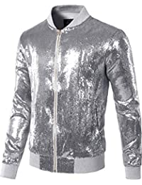 6c5cc8e6a3f Mens Sequins Nightclub Styles Zip up Varsity Baseball Bomber Jacket