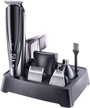 UZZHANG El corte a prueba de agua de las podadoras de pelo de la barba Trimer cara de cuerpo del pelo Máquina eléctrica del corte de pelo for los hombres del peluquero: