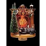 Sleeping Winter Bear by Fireplace 6 x 4 Inch Plastic Swivel Base Wall Plug In Night Light