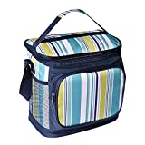 Insulated Lunch Bag Box Medium Waterproof Picnic Cooler Tote for Men Women with Adjustable Shoulder Strap, Sapphire & White Stripe