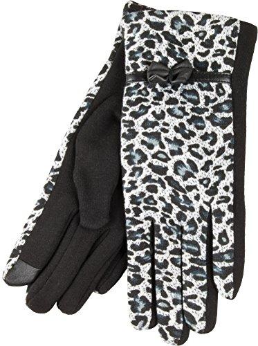 True Gear North Women's Winter Fashion Wildcat Animal Print Touch Gloves (White Leopard Print)