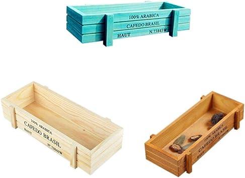 SimpleMfD SimpleMfD Planta de jardín Maceta decorativa Vintage Suculentas Cajas de madera Contenedor de planta Mesa rectangular Maceta Dispositivo de jardinería: Amazon.es: Bricolaje y herramientas
