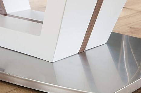 Casa Padrino Mesa de Comedor Blanco/Marrón/Plata 160-220 x 90 x H. 76 cm - Mesa de Cocina Moderna y Extensible: Amazon.es: Hogar
