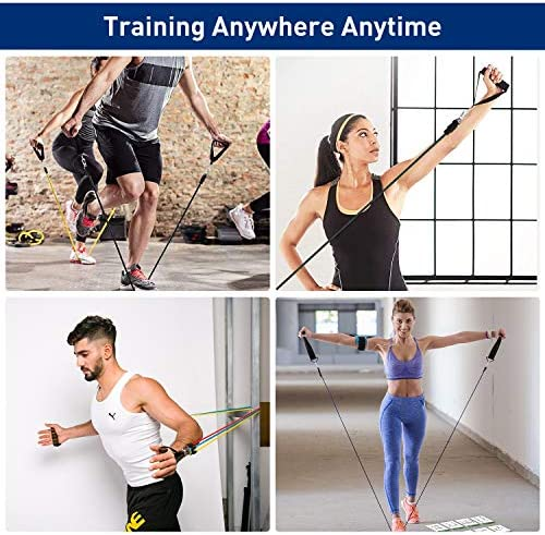KUYOU Resistance Bands Set 2020 New 11 Pcs Exercise Workout Bands with Handles for Women Men, 5 Resistance Loop Bands Set with Door Anchor, Carry Bag for Fitness Training Workout Yoga Pilate Stretch 7