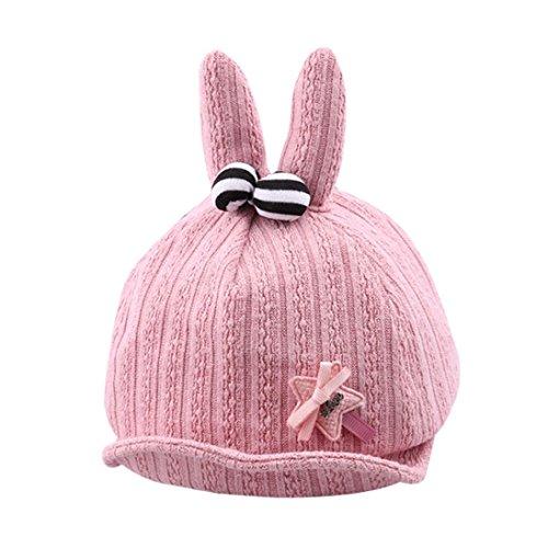 y Boys Girls Star Rabbit Ears Soft Brim Hat Bongrace Hat Peak Cap (Pink) ()