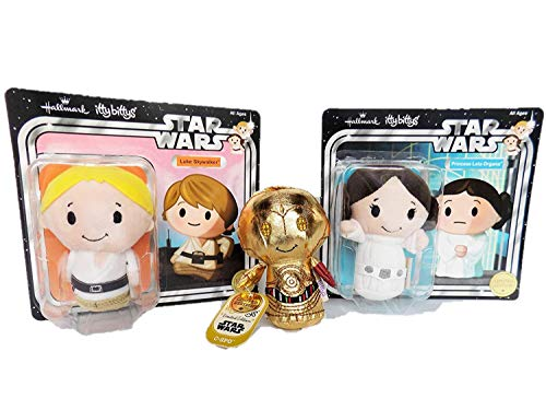 Hallmark Ittty Bitty's Limited Edition Star Wars Trio | Plush Figures | Princess Leia Organa | C-3PO | Luke Skywalker | Collectors Set for Babies, Toddlers, Kids and Adults Alike
