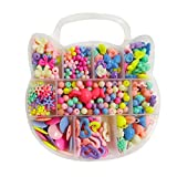 Children DIY Beads Set, DIY Bracelets Necklaces Beads for Jewellery Making for Kids Beads Making Kit Gift for Girls(Without Beading String) (Color-Kit 1)