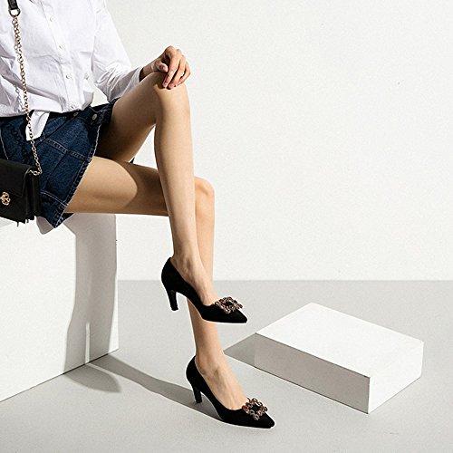 Damen Beige Pumps YIXINY Mikrofaser Komfortabel Schwarz Black Absatzhöhe 5 5 High Größe 6cm CN37 EU37 UK4 Atmungsaktiv PU Farbe und Heels 5fwpqw