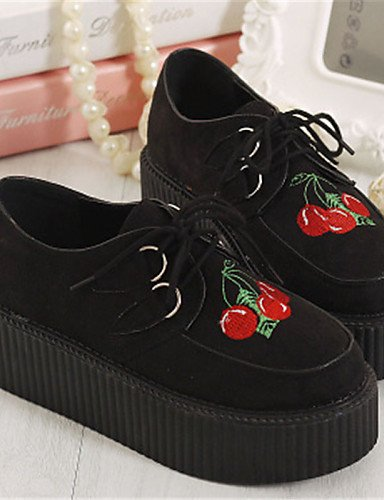 ZQ Zapatos de mujer - Plataforma - Creepers / Punta Redonda - Oxfords - Casual - Semicuero - Negro , black-us8.5 / eu39 / uk6.5 / cn40 , black-us8.5 / eu39 / uk6.5 / cn40 black-us8.5 / eu39 / uk6.5 / cn40