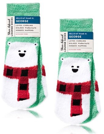Bath and Body Works 2 Pack Shea-Infused Lounge Socks. George The Polar Bear.