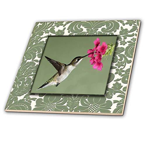 3dRose Susan Brown Designs Flowers Themes - Hummingbird Nectar - 6 Inch Ceramic Tile (ct_182970_2)