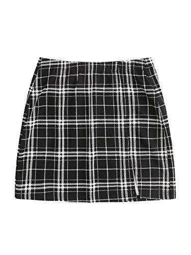 Floerns Women's Plus Size Plaid Print Split Hem Skirt