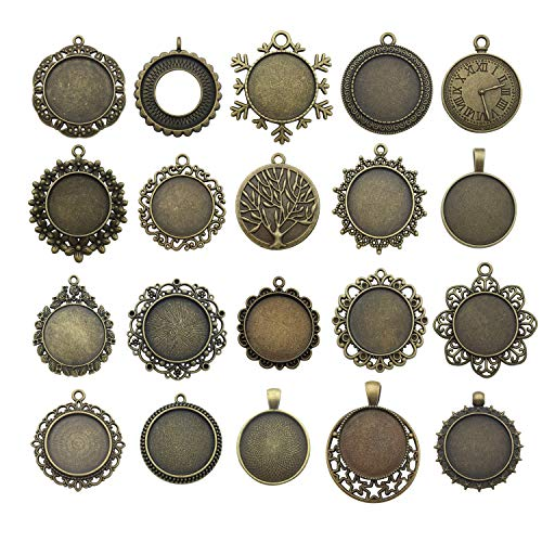 Youdiyla 20 Pendant Trays with 20 25mm Clear Glass Cabochons, Round Blank Base Setting Bezel Frame Metal Cameo for Photo Pendant Jewelry Making (Antique Bronze-HM279)