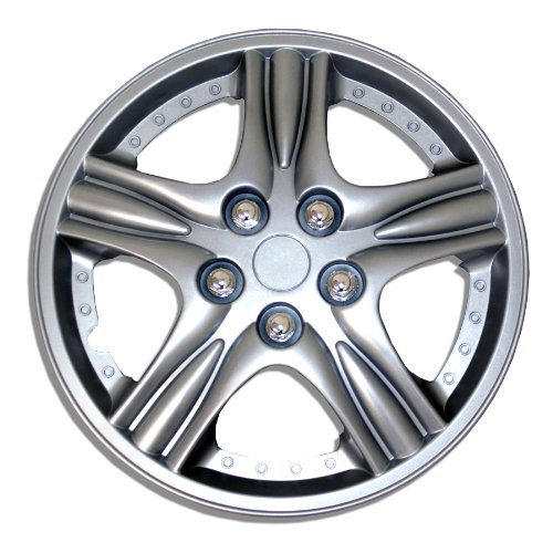 TuningPros WSC-510S15 Hubcaps Wheel Skin Cover 15-Inches Silver Set of 4 (Toyota Yaris 2009 Hubcap compare prices)