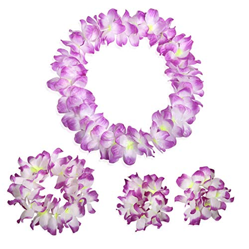 Party DIY Decorations - 4pcs Set Hawaiian Colorful Leis Beach Theme Flower Necklace Garlands - Decoration Iron Sunflower Vines Vine Flowers Decorations Flower Indian Blue Power Party Rose -