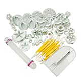 niceEshop VDTAZ012A Cake Tools Flower Fondant Cutter Cake Decorating Tools Baking Supplies Kit, 14 Sets 46pcs, White