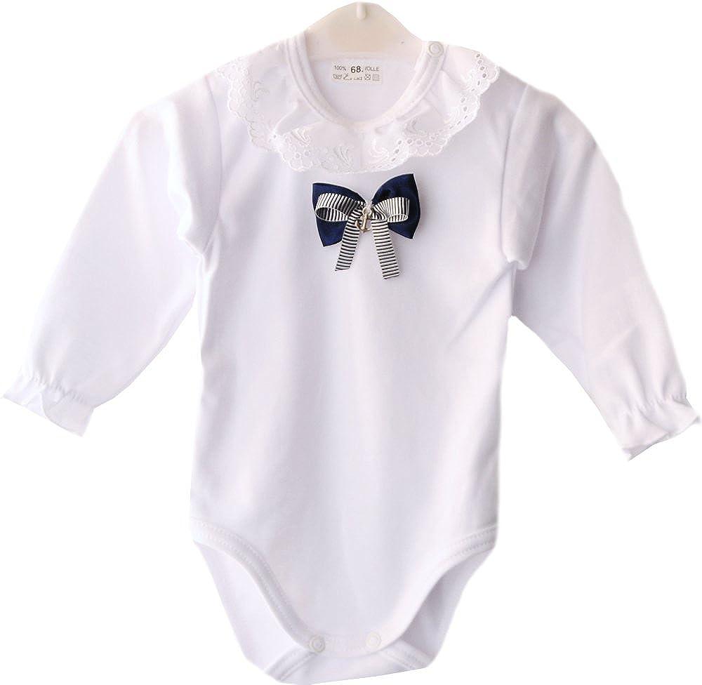 La Bortini Baby Body mit festlichem Kragen Wei/ß festlich Taufe