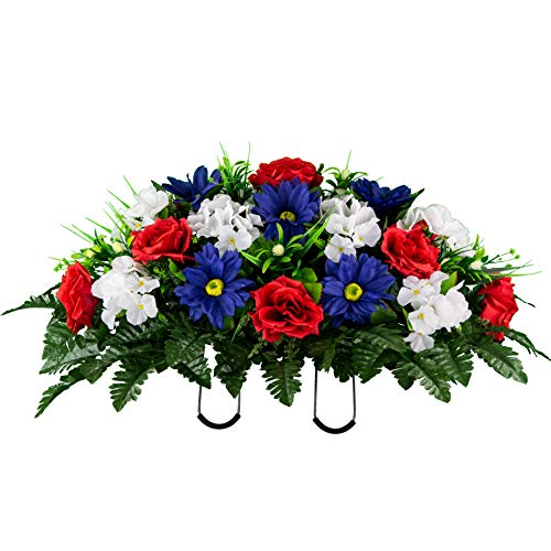 Sympathy Silks Artificial Cemetery Flowers - Realistic Vibrant Daisies, Outdoor Grave Decorations - Non-Bleed Colors, and Easy Fit -Red White Blue Rose Daisy Saddle