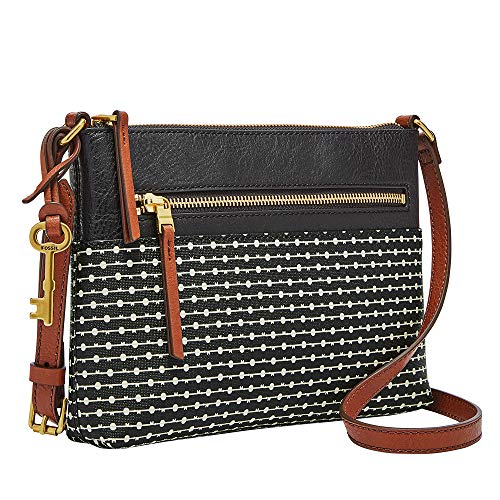 Fossil Women's Fiona PVC Small Crossbody Handbag, Black Stripe
