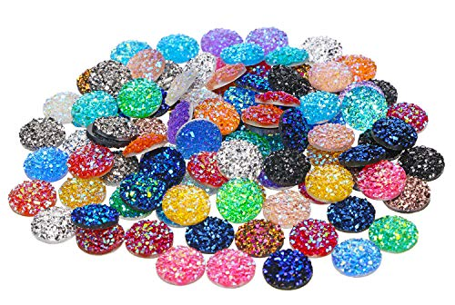 Penta Angel 120Pcs 12mm Round Flat Back Resin Cabochon Beads Shinny Faux Druzy Embellishment Cabochons Cameo for Bezel Pendant Trays Jewelry Earring Bracelet Necklace Making and Craft DIY