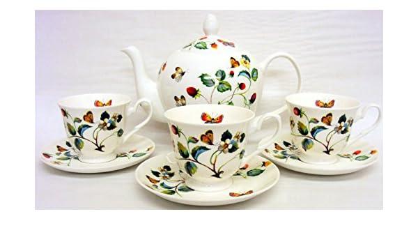 Diseño de fresas y mariposas de juego de café de porcelana fina mano decorada en el UK 1 tetera Grande/cafetera 6 tazas y 6 platillos con seguro de: ...