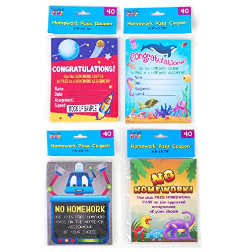 Teacher Building Blocks Homework Pass Coupon Books (4 Packs) homework pass, no homework, incentive -  FLOMO, TB305
