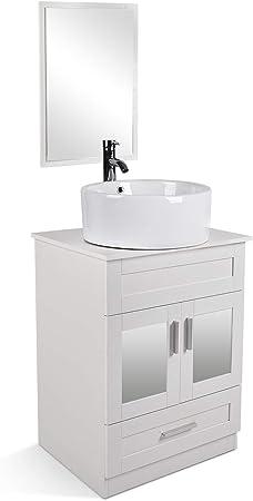 24 Grey Bathroom Vanity Cabinet AMD Sink Combo Marble Top Solid Wood w//Mirror,Sink/&Faucet