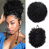 VGTE Beauty Synthetic Curly Hair Ponytail African American Short Afro Kinky Curly Wrap Synthetic Drawstring Puff Ponytail Hair Extensions Wig with Clips(#1)