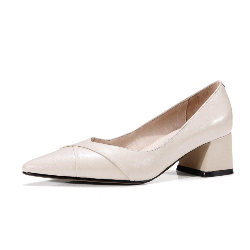 Ximu Neue Damen Lederschuhe Einfache Bequeme Spitze Schuhe Sommer Sandalen Pump Weiszlig; Schwarz 5cm  35 EU|White