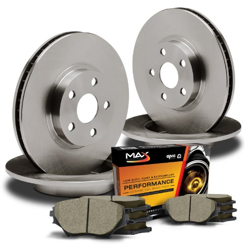 Max KT032143 Front + Rear Premium OE Replacement Rotors and Ceramic Pads Combo Brake Kit; Excl GT Bullitt Models (Max Advanced Brakes 01 Mustang compare prices)
