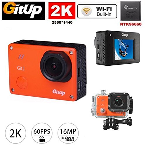Gitup Git2 PRO edition color NARANJA 2K 30fps 16MP Sensor Sony IMX206 CMOS Novatek 96660 1080P WiFi LCD 1.5