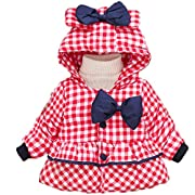 KONFA Baby Girls Bow Hooded Coat,Suitable for 0-3 Years old,Winter Thick Warm Outwear Clothes (0-12 Months, Red)